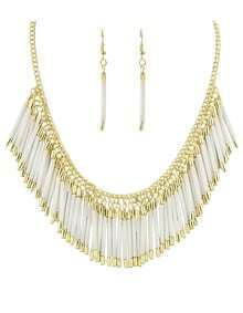 Beige Resin Tassel Long Jewelry Set