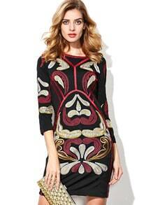 Black Round Neck Length Sleeve Embroidered Dress