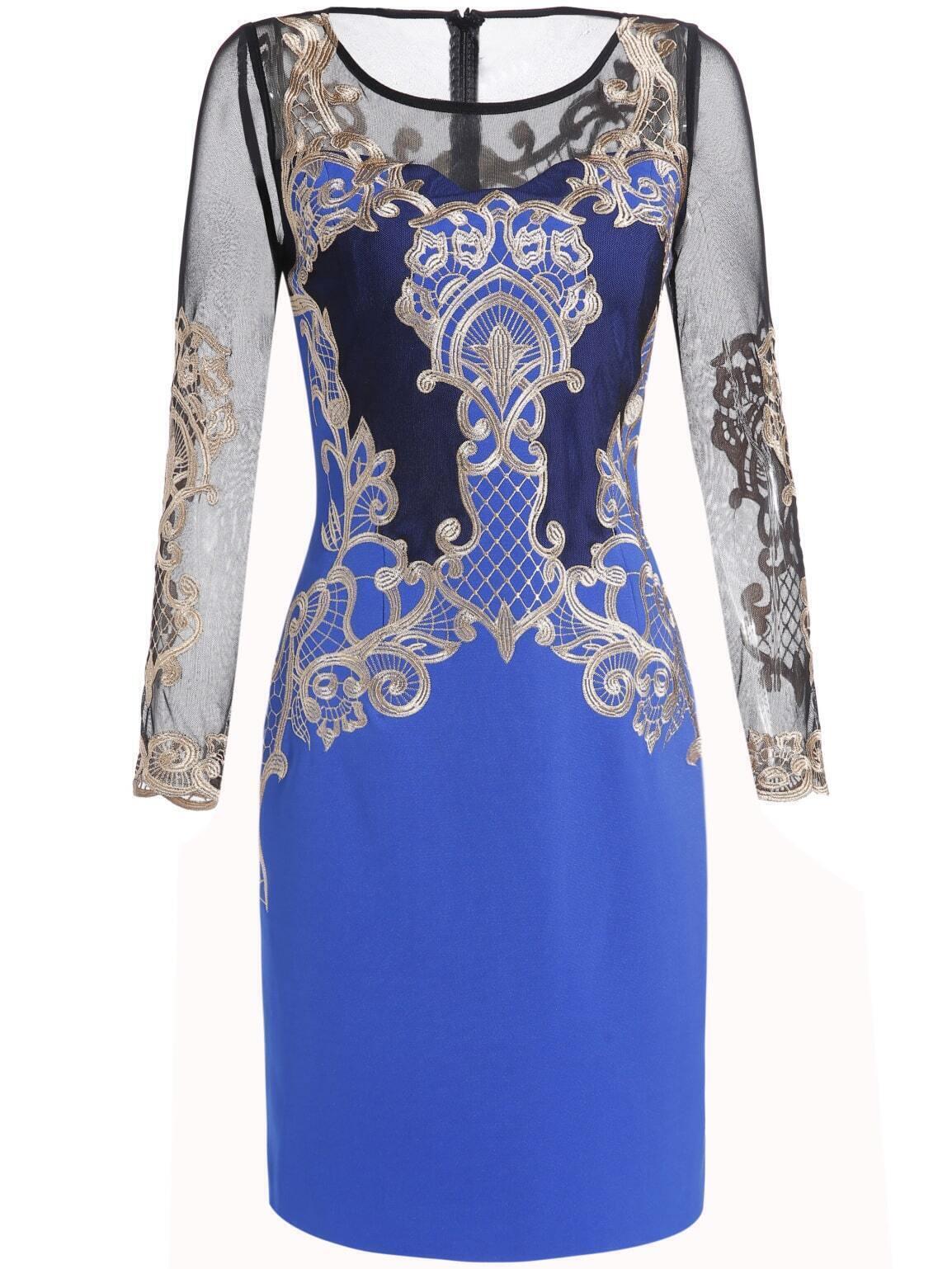 Платье с вышивкой синее 7