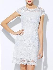 White Round Neck Short Sleeve Bodycon Lace Dress