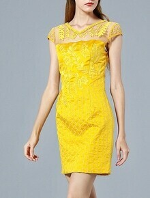 Yellow Cap Sleeve Contrast Gauze Embroidered Dress
