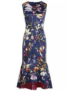 Blue Round Neck Sleeveless Floral Print Fishtail Dress