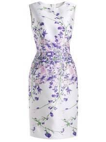 White Round Neck Sleeveless Vintage Print Bodycon Dress