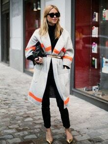Grey Color Block Pockets Coat