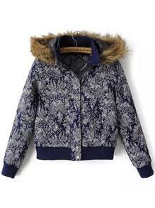Navy Faux Fur Hooded Floral Crop Jacket