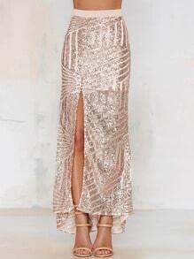 Champagne High Waisted Sequined Split Skirt