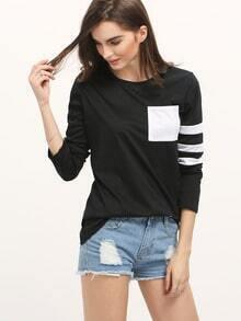 Black White Round Neck Striped Loose T-Shirt