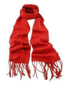 Red Soild Cashmere Fringer Scarf
