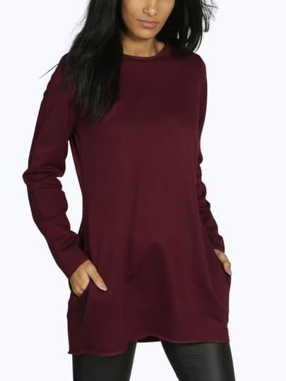 Burgundy long sleeve round neck t shirt emmacloth women for Burgundy long sleeve t shirt womens