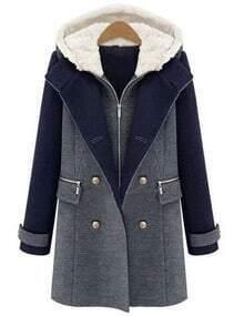 Color-block Hooded Zipper Double Breaste Pockets Coat