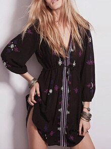 Black Long Sleeve V Neck Vintage Print Dress