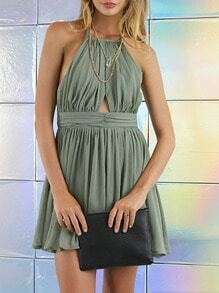 Green Sleeveless With Lace Pleated Dress
