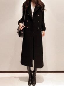 Black Long Sleeve Double Breasted Woolen Coat
