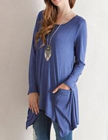 Blue Scoop Neck Pocket Asymmetrical Tshirt