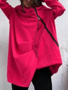 Red Hooded Zipper Pockets Loose Coat