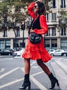 Red Long Sleeve Ruffle Dress