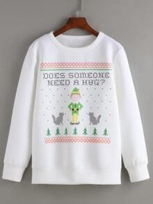 White Round Neck Christmas Print Sweatshirt
