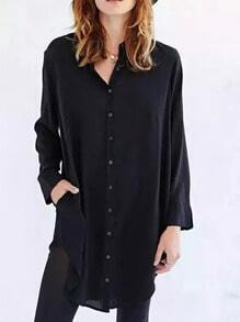 Black Lapel Long Sleeve Buttons Loose Blouse