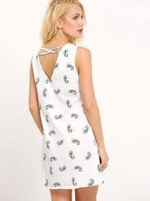 White V Neck Cashew Print Backless Dress