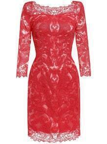 Red Round Neck Length Sleeve Lace Dress