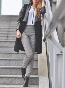 Black Lapel Contrast PU Leather Sleeve Coat