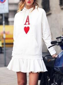 White Drawstring Hooded A Print Ruffle Hem Dress