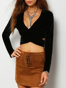 Black Plunge Criss Cross Crop Blouse