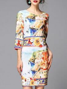 Multicolor Round Neck Length Sleeve Print Dress