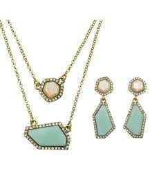 Blue Imitation Gemstone Necklace Earrings Costume Jewelry Set