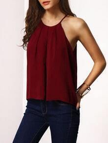 Burgundy Spaghetti Strap Lace-up Cami Top