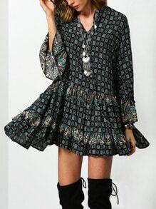 Dark Green Tribal Print Ruffle Dress