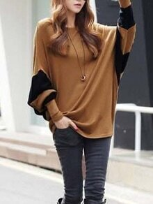 Khaki Color Block Batwing Sleeve Loose T-Shirt