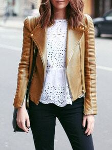 Camel PU Leather Zipper Biker Jacket