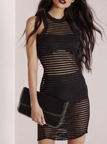 Black Striped Mesh Sheath Sexy Dress