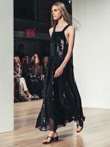 Black Strap Criss Cross Back Sequined Maix Dress