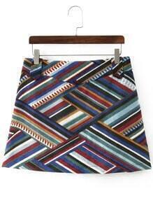 Colour Geometric Print Corduroy Skirt