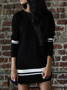 Black Color Block Crew Neck Straight Dress