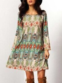 Crew Neck Aztec Print V Back Dress
