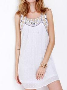 White Poplin Sleeveless Tribal Embroidered Dress