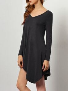 Black V Neck Asymmetric Dress