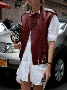 Burgundy Sleeveless Stand Collar PU Leather Jacket