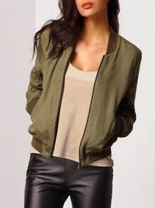 Green Collarless Color Block Trims Jacket