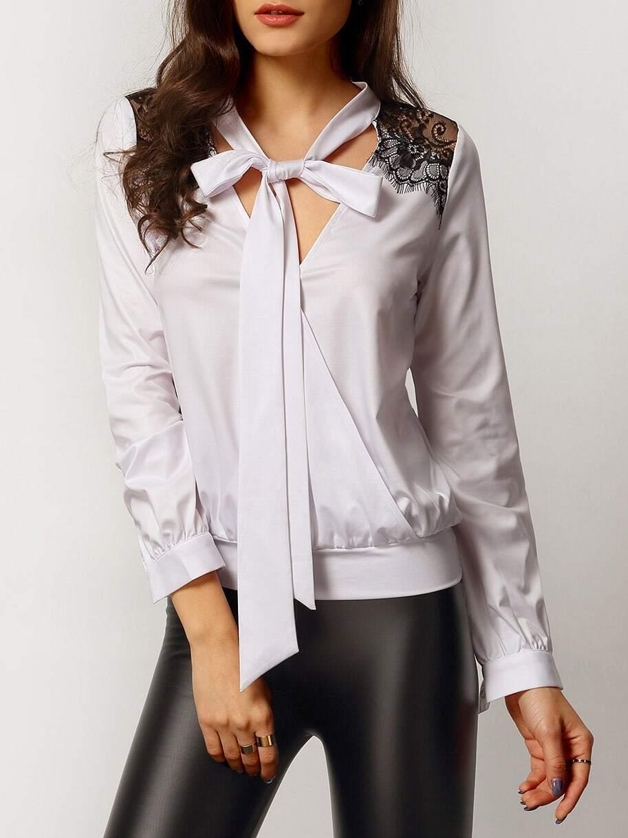 Белая Блузка С Черным Воротником