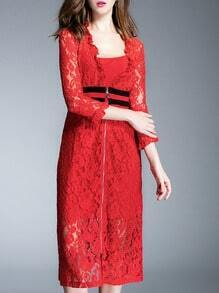 Red V Neck Length Sleeve Zipper Two Pieces Lace Dress