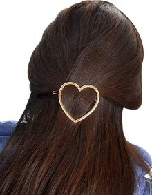 Gold Plated Heart Shape Hair Clip