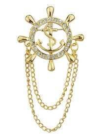 Gold Plated Long Chain Brooch