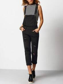 Black Strap Ripped Pockets Denim Jumpsuit