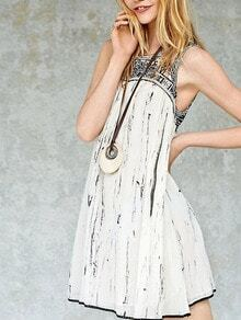 Black White Sleeveless Embroidered Tank Dress