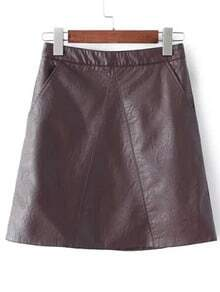 Brown Pockets A Line PU Skirt