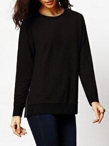 Black Crew Neck Zipper T-Shirt